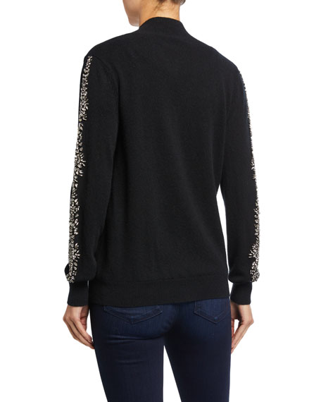 Neiman Marcus Cashmere Collection Embellished Cashmere Zip-Front Bomber Jacket