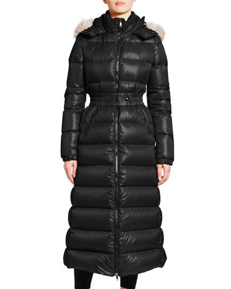 Moncler Hudson Long Puffer Coat w/ Fur Hood