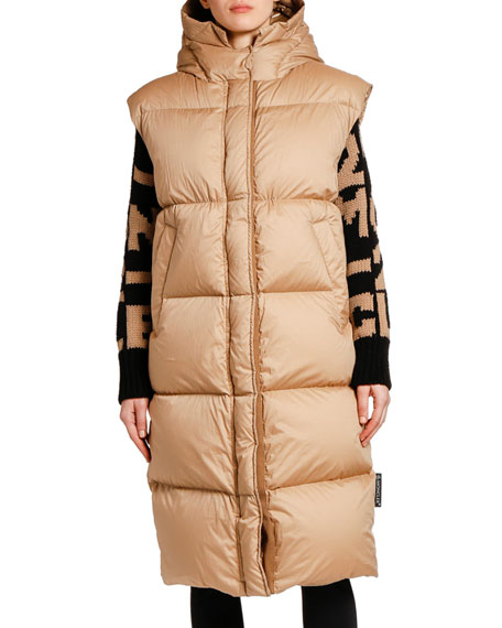Moncler Comoe Long Vest w/ Hood