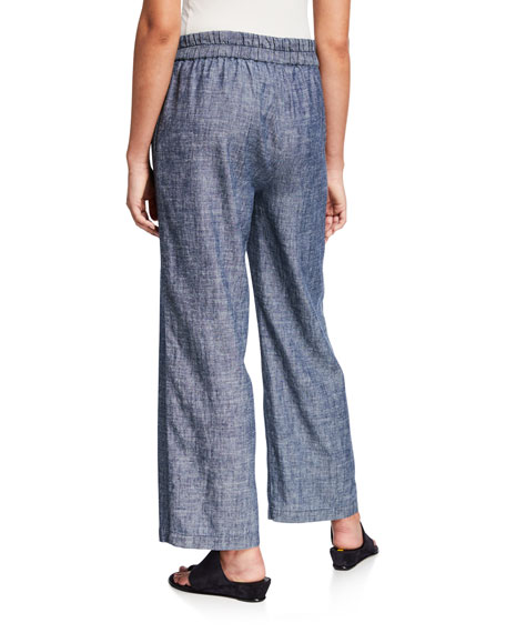 Image 2 of 3: Eileen Fisher Denim Chambray Pull-On Ankle Pants
