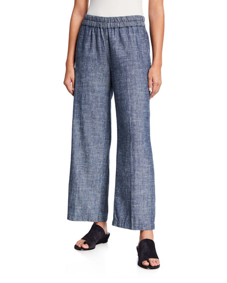 Image 1 of 3: Eileen Fisher Denim Chambray Pull-On Ankle Pants
