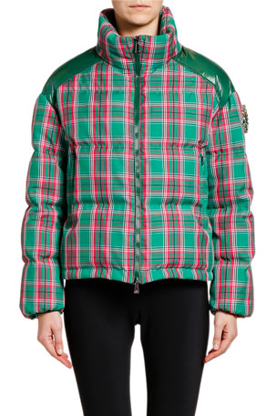 Moncler Chou Plaid Puffer Jacket w/ Contrast Shoulders