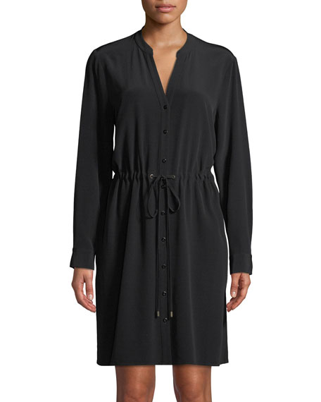 Eileen Fisher Long-Sleeve Crepe Drawstring-Waist Dress