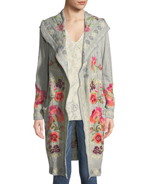 a8492aa081c Johnny Was Sysen Hooded Duster Cardigan w  Floral Embroidery