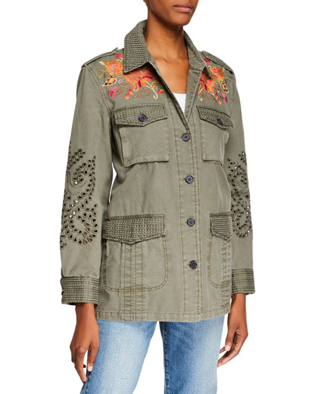 Johnny Was Violette Button-Front Military Jacket with Eyelet Details