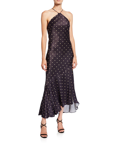 Shona Joy Odell Polka-Dot Bias-Cut Midi Halter Dress