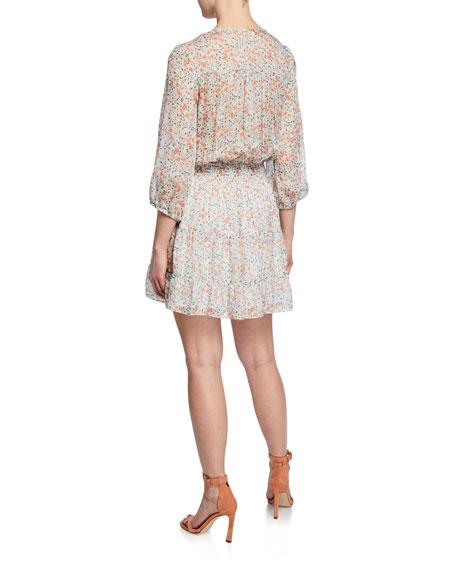 Shoshanna Bonne Floral-Print Keyhole Blouson Mini Silk Dress