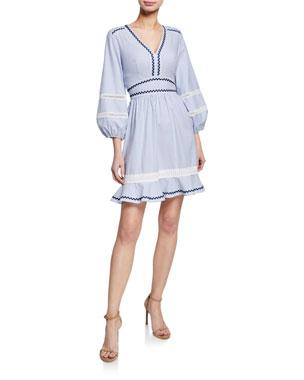 a90a00e1761 Shoshanna Orvalee Striped V-Neck Blouson-Sleeve Mini Dress w  Ricrac Trim