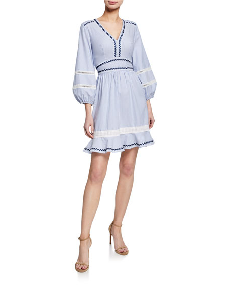 Shoshanna Orvalee Striped V-Neck Blouson-Sleeve Mini Dress w/ Ricrac Trim