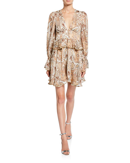 Shona Joy Pallenberg Paisley Plunge-Neck Long-Sleeve Mini Dress w/ Bead Trim