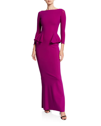 Bateau-Neck 3/4-Sleeve Peplum Column Gown