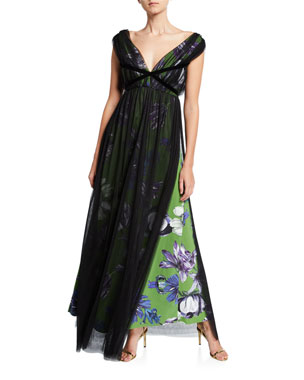 4ba60cff Chiara Boni La Petite Robe Overlay Floral V-Neck Gown with Band Trim.  Favorite. Quick Look