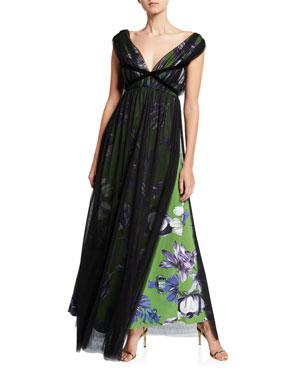 9e5e6faa Chiara Boni La Petite Robe Overlay Floral V-Neck Gown with Band Trim.  Favorite. Quick Look