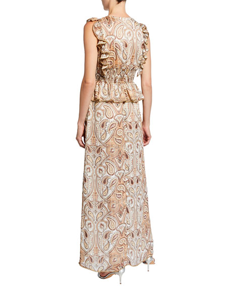 Shona Joy Pallenberg Paisley Shirred Maxi Skirt with Bead Trim