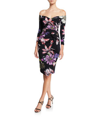 195d4359 Chiara Boni La Petite Robe Floral Off-the-Shoulder 3/4-Sleeve