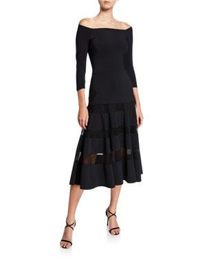 bd049b3f Chiara Boni La Petite Robe Off-the-Shoulder A-Line Midi Dress with