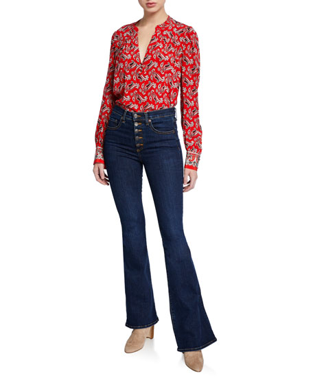 Image 4 of 4: Veronica Beard Jeans Beverly High-Rise Flare Jeans with Exposed Fly