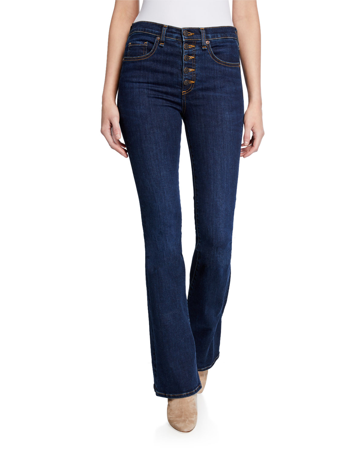 Veronica Beard Jeans Beverly High-Rise Flare Jeans with Exposed Fly
