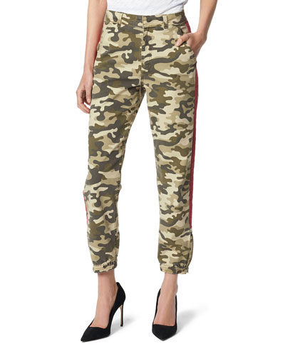 The High-Rise Camo-Print Trouser with Side Stripes