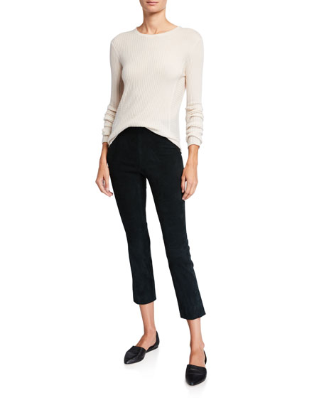 Image 3 of 3: Vince Stretch Suede Split Hem Crop Pants