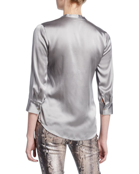L'Agence Aoki Band-Collar Blouse