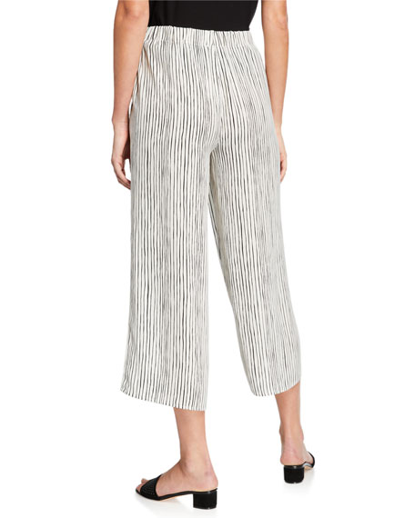 Eileen Fisher Striped Wide-Leg Cropped Silk Crepe Pull-On Pants