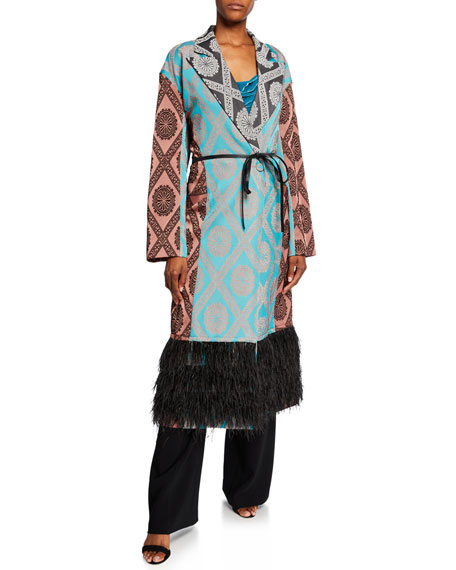 cinq a sept Phoebe Printed Coat with Ostrich Feathers