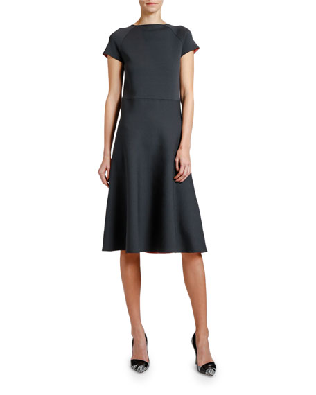 Image 1 of 2: Giorgio Armani Short-Sleeve Knitted Dress