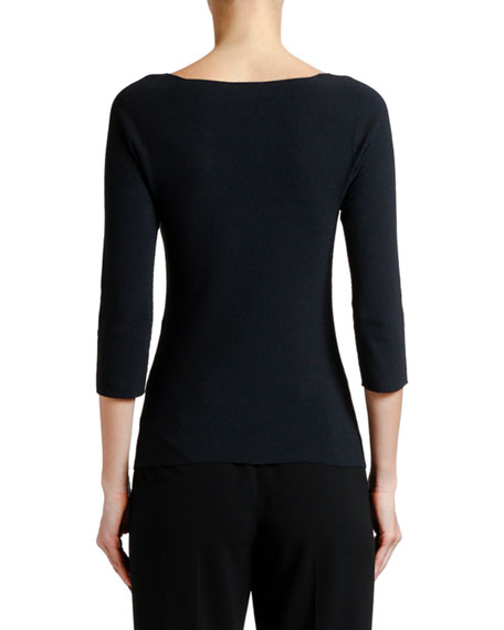 Giorgio Armani 3/4-Sleeve Moss-Stitch V-Neck Sweater