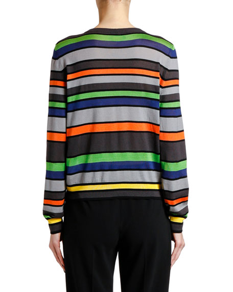 Giorgio Armani Silk-Cashmere Striped Knit Sweater