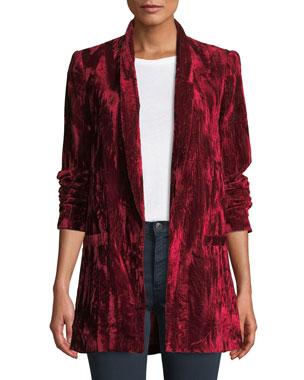 a58e1cf744a Alice + Olivia Kylie Easy Shawl-Collar Velvet Blazer