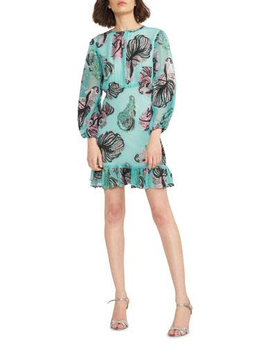 Inverness Metallic Fish Blouson-Sleeve Dress