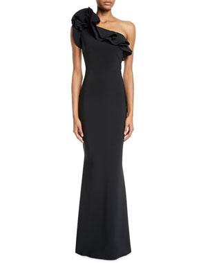 951445c68c Chiara Boni La Petite Robe Elisir One-Shoulder Ruffle Gown