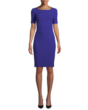 5c37e5fd41eef1 St. John Collection Irina Square-Neck Short-Sleeve Boucle-Knit Sheath Dress