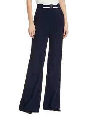 8060b93601fdfb Veronica Beard Maldon Belted High-Rise Wide-Leg Pants