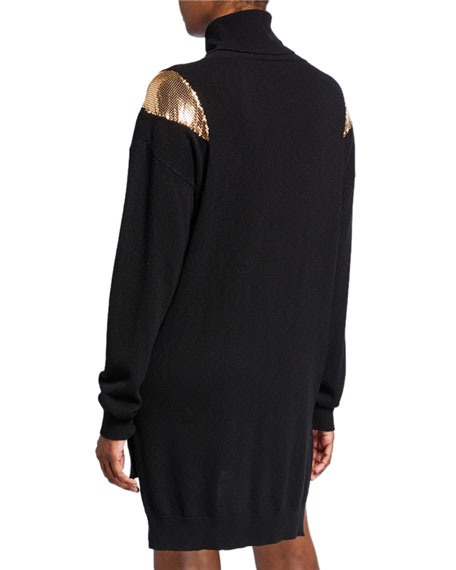 PINKO Knit Turtleneck Tunic Sweater with Chainmail Shoulders