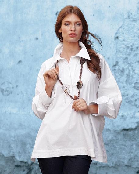 Go Silk Plus Size Boxy Oversize Stretch Shirt