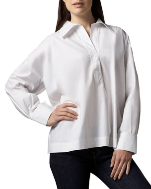 ad823f2fea64c5 Go Silk Petite Oversize Long-Sleeve Stretch Shirt