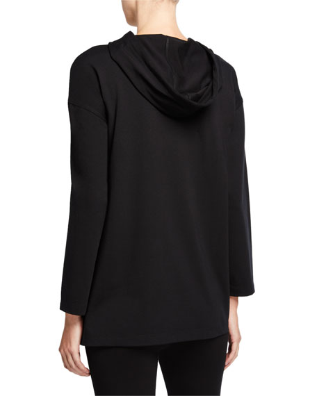 Eileen Fisher Plus Size Organic Cotton Jersey Hooded Long Top
