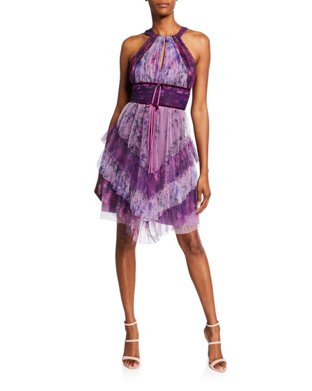 Marchesa Notte Colorblocked Floral-Printed Tulle Dress with Ruffle Skirt Detailing