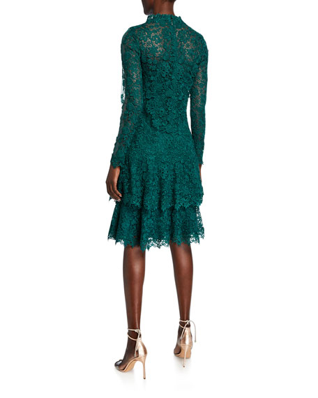 Rickie Freeman for Teri Jon Floral Lace Mock-Neck Long-Sleeve Tiered Dress