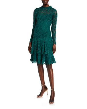 4ecbbf05 Rickie Freeman for Teri Jon Floral Lace Mock-Neck Long-Sleeve Tiered Dress