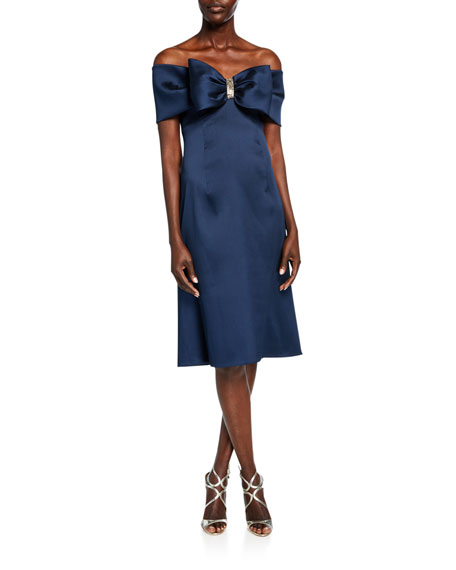 Rickie Freeman for Teri Jon Bow Front Off-the-Shoulder Stretch Gazar A-Line Dress