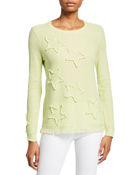 Image 1 of 3: Lisa Todd Petite Multi Fray Stars Sweater with Frayed Hem