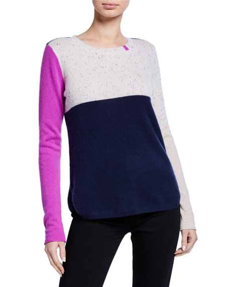 Lisa Todd Petite Block Shock Colorblock Crewneck Cashmere Sweater