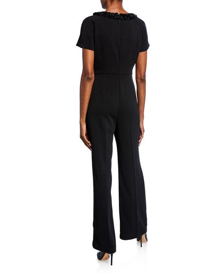 Shani Beaded Short-Sleeve Crepe Cutout Jumpsuit