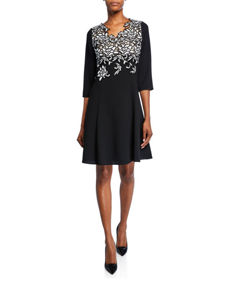 Shani V-Neck 3/4-Sleeve Crepe Dress with Embroidery