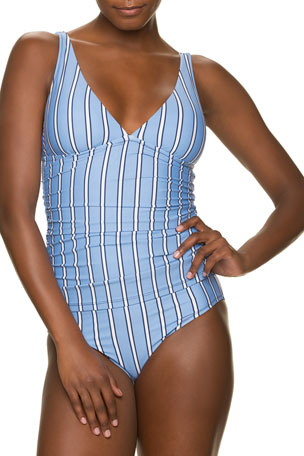 Draper James x Helen Jon Striped Convertible Tankini Top