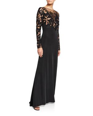 c1126d8a11df2 Tadashi Shoji Lace Illusion Long-Sleeve Crepe Gown
