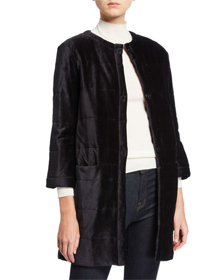 Majestic Filatures Quilted Velour Topper Coat